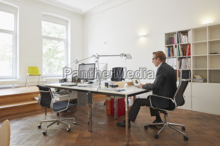 businessman working with notebook in an