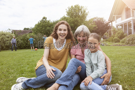 portrait of happy extended family in