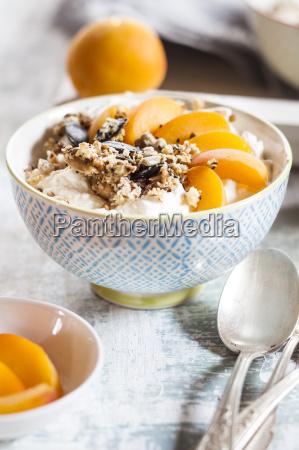 yogurt with crunchy muesli and fresh
