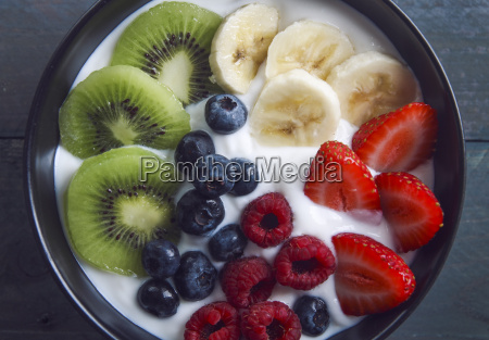 bowl of natural yoghurt and different