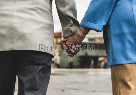 back view of senior couple holding