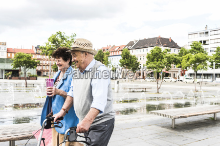 germany mannheim happy senior couple with