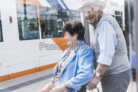 germany mannheim happy senior couple with