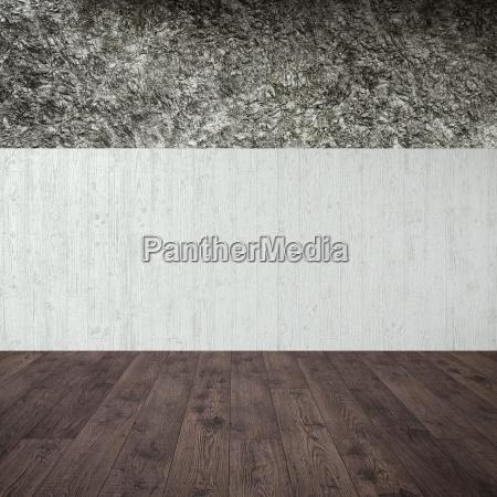 leerer raum mit beton und steinmauer