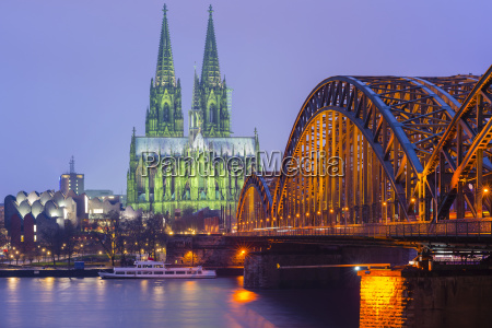 germany cologne view to lighted cologne