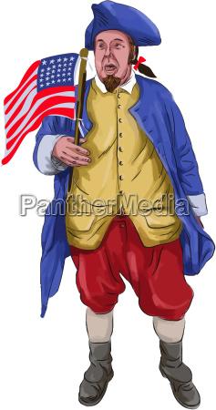 amerikanischer patriot rufen halten flagge aquarell