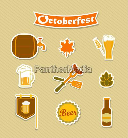 oktoberfest beer brewery icons set