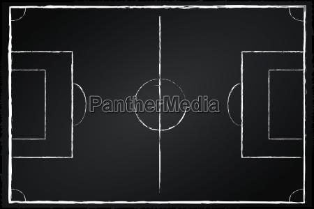 fussballfeld auf tafel schwarz