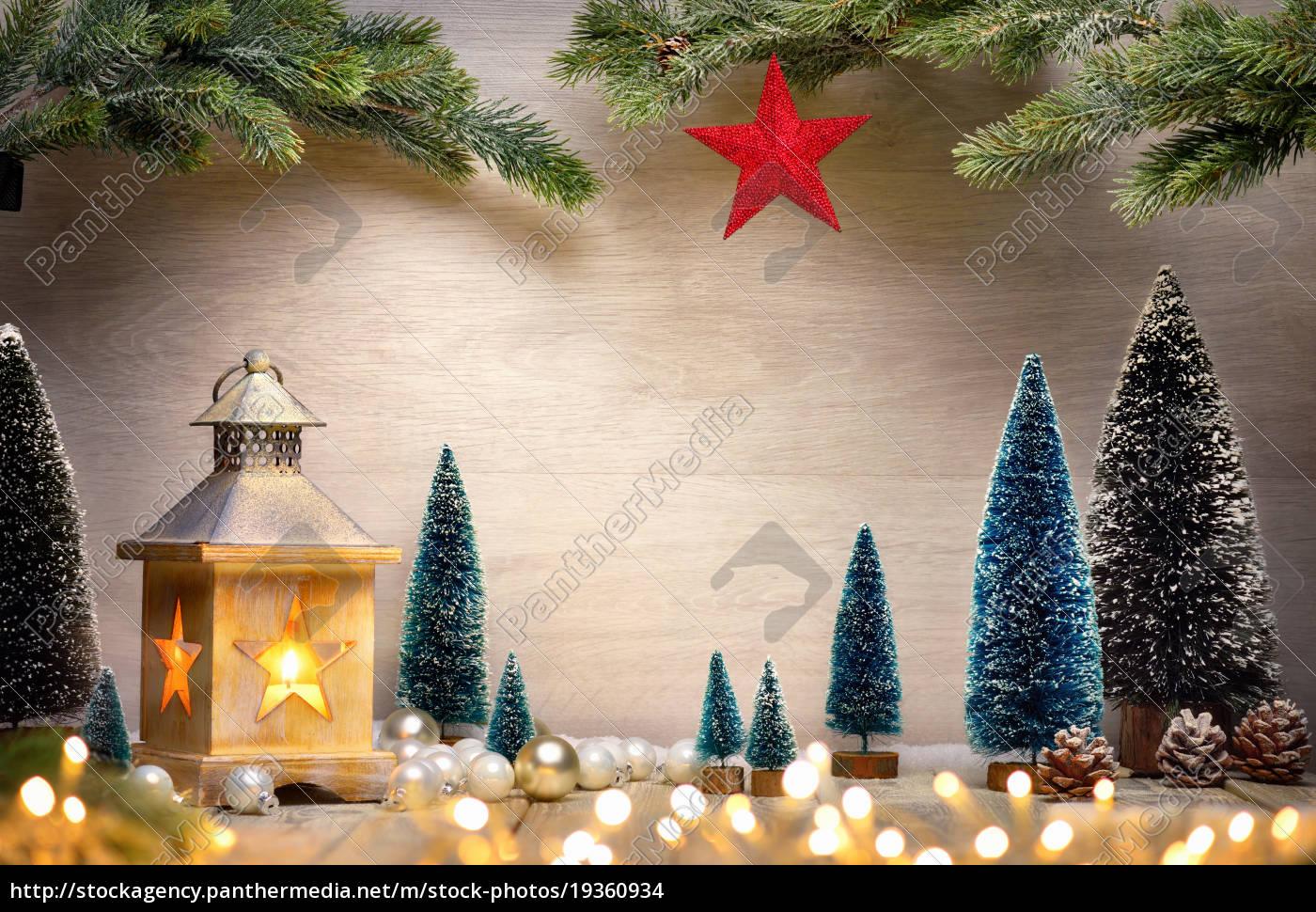 weihnachten arrangement mit laterne b umen stock photo. Black Bedroom Furniture Sets. Home Design Ideas