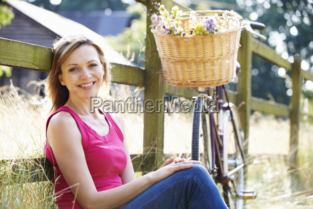 attractive woman relaxing on cycle ride