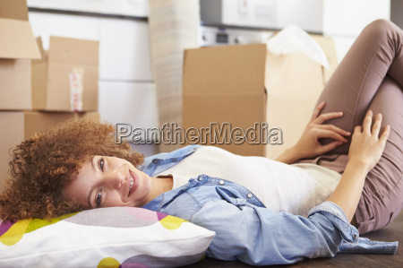 woman taking a break whilst moving