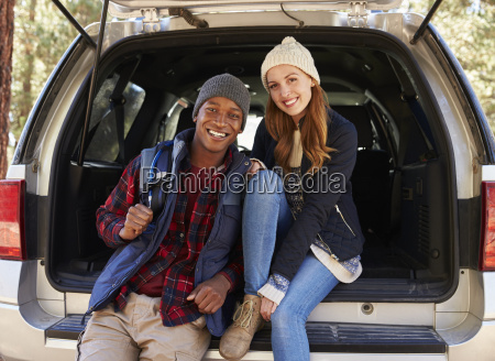 portrait of mixed race couple sitting