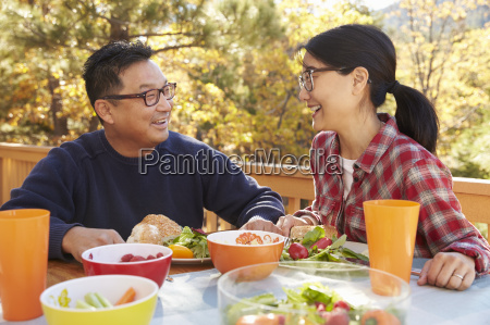 asian couple having lunch at a