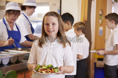 schoolgirl holding a plate of food