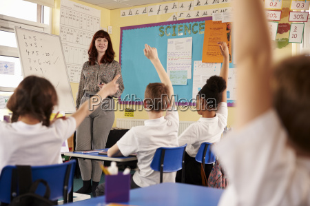 kids raising hands in a primary