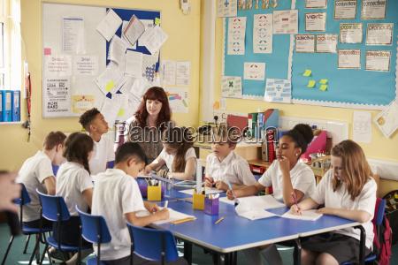 primary school teacher with kids working