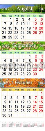 kalender von august oktober 2017 mit