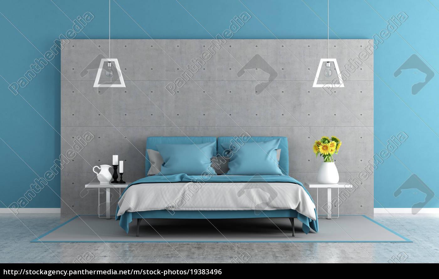 Lizenzfreies Foto 19383496 - blaue und graue schlafzimmer