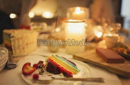 uebrig gebliebene kuchen auf candle light