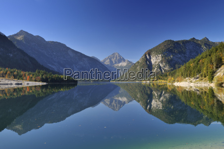 reflection of mountains in lake plansee