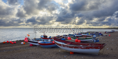 colorful fishing boats on beach klitmoller