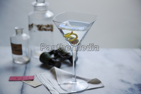 martini in glass on napkin with