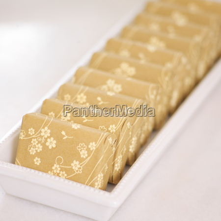 close up of floral wrapped bars