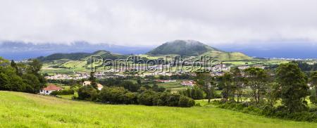 pastureland and volcanic hills flamengos horta