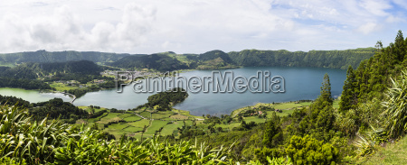 view of the crater lakes of
