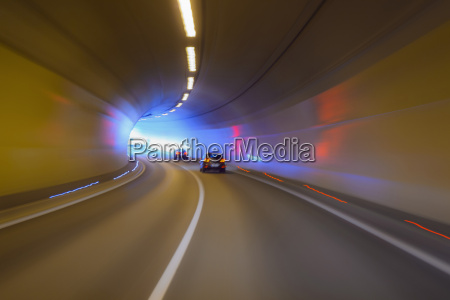 driving through tunnel with traffic austria