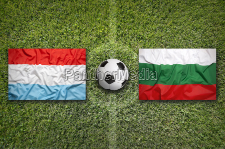 luxembourg vs bulgaria flags on soccer