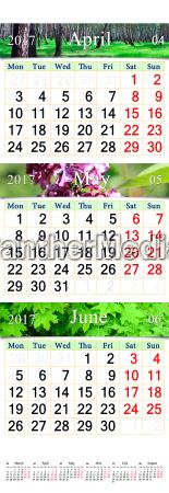 dreifachkalender fuer april juni 2017 mit