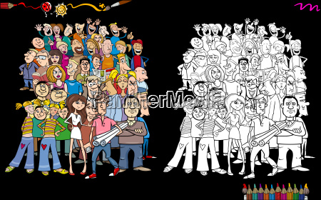 people in crowd coloring book