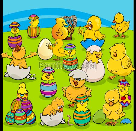 easter chicks group cartoon
