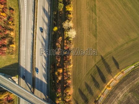 aerial view of a highway amid