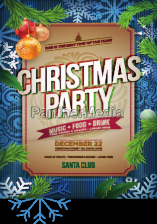 vector christmas party poster design vorlage