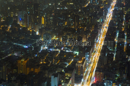aerial view of city and roads