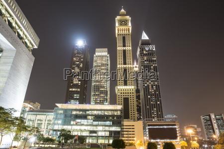 modern architecture at night dubai uae