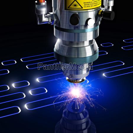 industrie industriell schnitt rendering laser schneiden