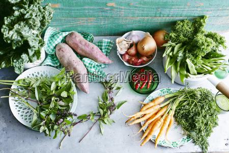 stillleben von frischer minze suesskartoffeln babykarotten
