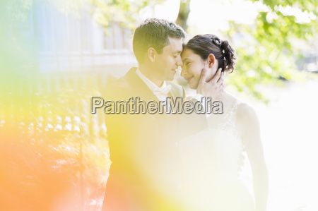 romantic newlywed mid adult couple in