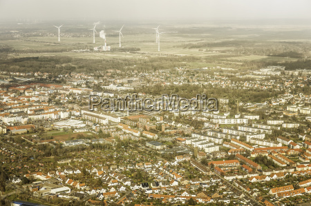 aerial view of suburbs and wind