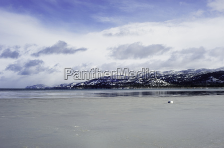 lake tahoe and mountains in winter