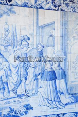 historische azulejos die blau glasierter keramik