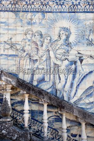 old, azulejos, die, ikonische, blau-glasierte, keramische, fliesen - 19441782