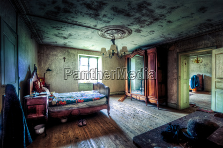 bedroom in dilapidated house