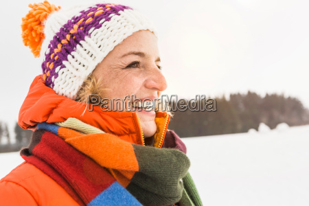portrait of woman wearing knit hat