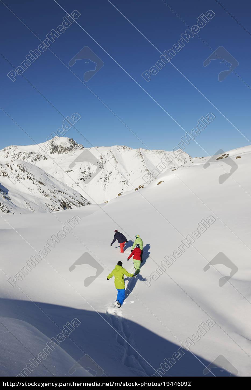 friends, walking, through, snow, , kuhtai, , austria - 19446092