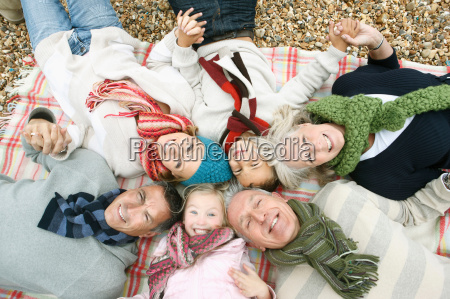 top view of family on beach