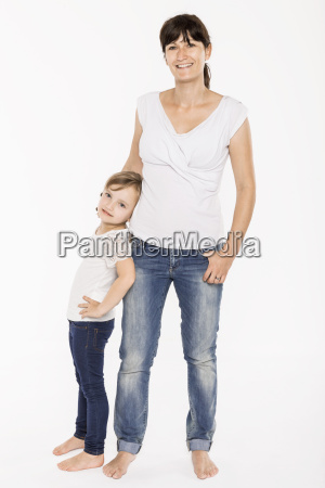 studio portrait of mid adult mother